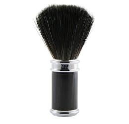 Edwin Jagger Black Rubber Coated Shaving Brush (Black Synthetic)