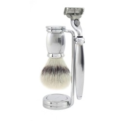 Edwin Jagger Bulbous Lined 3 Piece Mach3 Set (Synthetic Silver Tip)