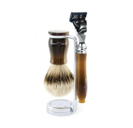 Edwin Jagger 3pc Chatsworth Horn Set, Fusion (silver tip badger)