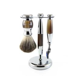 Edwin Jagger 3pc Imitation Horn & Chrome shaving set (Fusion)