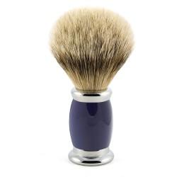 Edwin Jagger Blue Bulbous Shaving Brush (Silver Tip Badger)