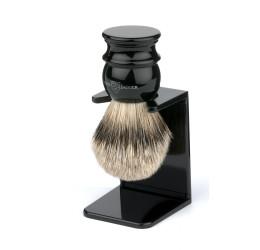 Edwin Jagger Imitation Ebony Silver Tip Shaving Brush with Stand