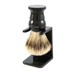 Edwin Jagger Imitation Ebony Synthetic Fill Shaving Brush with Stand