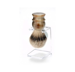 Edwin Jagger Imitation Horn Silver Tip Shaving Brush with Stand