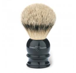 Edwin Jagger Black Shaving Brush (Silver Tip)