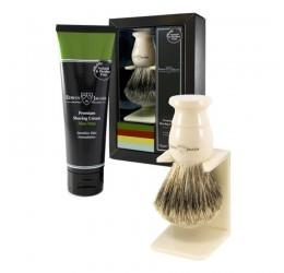 Edwin Jagger Imitation Ivory Shaving Brush and Cream Gift Set