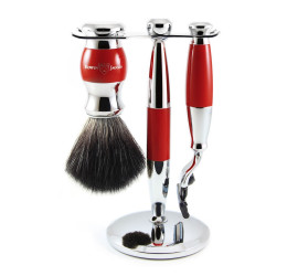 Edwin Jagger Red & Chrome 3 Piece Mach3 Set (Black Synthetic)