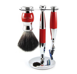 Edwin Jagger Red & Chrome 3 Piece Fusion Set (Black Synthetic)