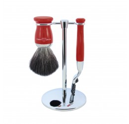 Edwin Jagger Red 3 Piece Mach3 Set (Black Synthetic)
