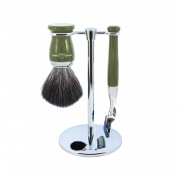 Edwin Jagger Green 3 Piece Fusion Set (Black Synthetic)