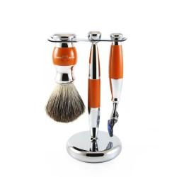 Edwin Jagger 3pc Orange & Chrome shaving set (Fusion)